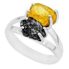7.04cts natural diamond rough citrine rough 925 silver ring size 8 r92236