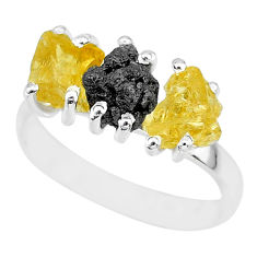 8.84cts natural diamond rough citrine raw 925 silver ring size 9 r92115