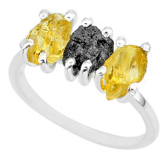 8.03cts natural diamond rough citrine raw 925 silver ring size 9 r92130