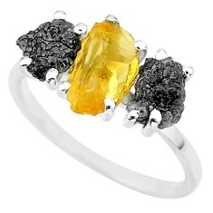 7.66cts natural diamond rough citrine rough fancy 925 silver ring size 9 r92189