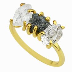 6.80cts natural diamond raw fancy 14k gold handmade ring size 8 t14051