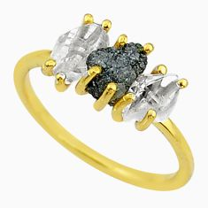 6.29cts natural diamond raw fancy 14k gold handmade ring size 9 t14043
