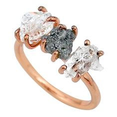 7.17cts natural diamond raw fancy 14k rose gold handmade ring size 7 t14020