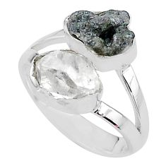8.51cts natural diamond raw herkimer diamond 925 silver ring size 7 t9935