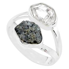 9.29cts natural diamond raw herkimer diamond 925 silver ring size 7 t9951