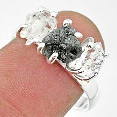 7.96cts natural diamond raw herkimer diamond 925 silver ring size 8 t14088