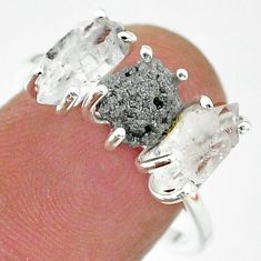 7.17cts natural diamond raw herkimer diamond 925 silver ring size 8 t14091