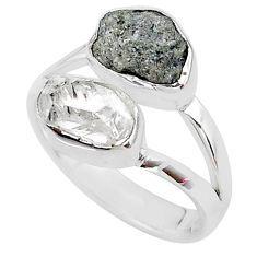 8.89cts natural diamond raw herkimer diamond 925 silver ring size 8 t9934