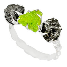 4.97cts natural diamond rough peridot raw 925 silver handmade ring size 8 r79339