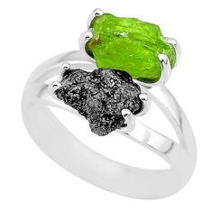 6.70cts natural diamond rough peridot rough 925 silver ring size 7 r92225