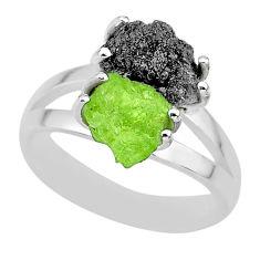 6.04cts natural diamond rough peridot rough 925 silver ring size 7 r92282