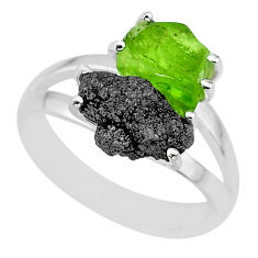 5.84cts natural diamond rough peridot rough 925 silver ring size 7 r92295