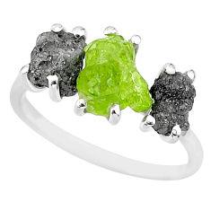 7.96cts natural diamond rough peridot rough 925 silver ring size 8 r92160