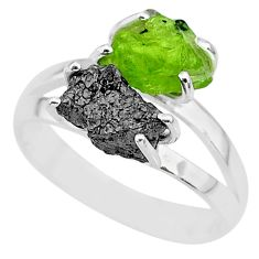 7.04cts natural diamond rough peridot rough 925 silver ring size 8 r92247