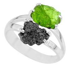 6.72cts natural diamond rough peridot rough 925 silver ring size 8 r92262