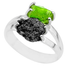 6.72cts natural diamond rough peridot rough fancy 925 silver ring size 7 r92206