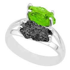7.04cts natural diamond rough peridot rough fancy 925 silver ring size 8 r92227
