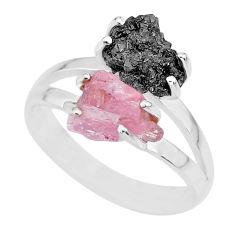 6.39cts natural diamond rough rose quartz rough 925 silver ring size 8.5 r92283