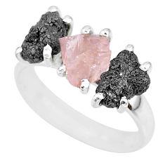 8.03cts natural diamond rough rose quartz raw 925 silver ring size 7 r92131