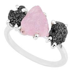 7.66cts natural diamond rough rose quartz rough 925 silver ring size 7 r92197