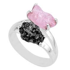 7.04cts natural diamond rough rose quartz rough 925 silver ring size 7 r92229