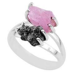 6.39cts natural diamond rough rose quartz rough 925 silver ring size 7 r92230