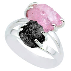 11.62cts natural diamond rough rose quartz rough 925 silver ring size 7 r92257