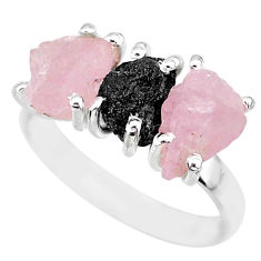 8.87cts natural diamond rough rose quartz raw 925 silver ring size 8 r92098