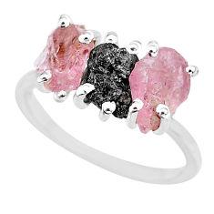 7.66cts natural diamond rough rose quartz raw 925 silver ring size 8 r92105