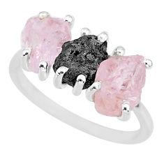8.03cts natural diamond rough rose quartz raw 925 silver ring size 8 r92124