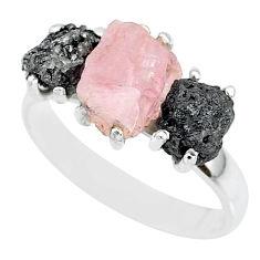 8.84cts natural diamond rough rose quartz rough 925 silver ring size 8 r92162