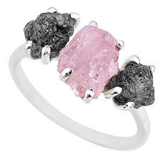 7.17cts natural diamond rough rose quartz rough 925 silver ring size 8 r92200