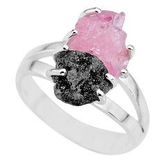 7.33cts natural diamond rough rose quartz rough 925 silver ring size 8 r92232
