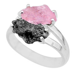 6.95cts natural diamond rough rose quartz rough 925 silver ring size 8 r92253