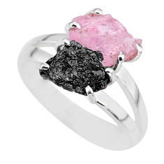 6.70cts natural diamond rough rose quartz rough 925 silver ring size 8 r92273