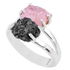 7.24cts natural diamond rough rose quartz raw 925 silver ring size 8 t4289
