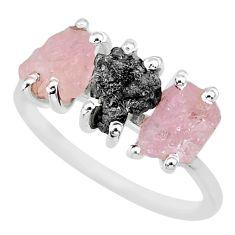 7.66cts natural diamond rough rose quartz raw 925 silver ring size 9 r92086