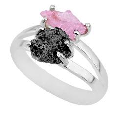 6.72cts natural diamond rough rose quartz rough 925 silver ring size 9 r92276