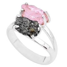 7.91cts natural diamond rough rose quartz raw 925 silver ring size 9 t4290