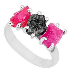 8.03cts natural diamond rough ruby raw 925 sterling silver ring size 7 r92081