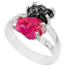 6.70cts natural diamond rough ruby rough 925 sterling silver ring size 7 r92221