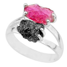 6.39cts natural diamond rough ruby rough 925 sterling silver ring size 7 r92252