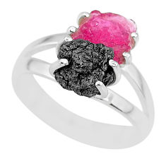 6.03cts natural diamond rough ruby rough 925 sterling silver ring size 7 r92286
