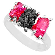 9.37cts natural diamond rough ruby raw 925 sterling silver ring size 8 r92082