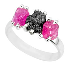 8.51cts natural diamond rough ruby raw 925 sterling silver ring size 8 r92109