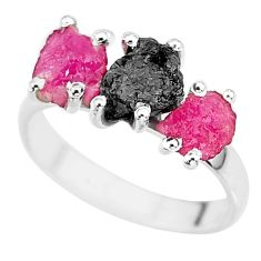 8.56cts natural diamond rough ruby raw 925 sterling silver ring size 8 r92134