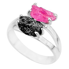 7.04cts natural diamond rough ruby rough 925 sterling silver ring size 8 r92223