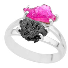 6.72cts natural diamond rough ruby rough 925 sterling silver ring size 8 r92255