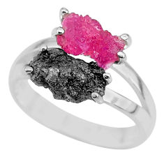 6.98cts natural diamond rough ruby rough 925 sterling silver ring size 8 r92277