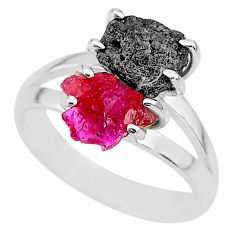 6.68cts natural diamond rough ruby rough 925 sterling silver ring size 8 r92285